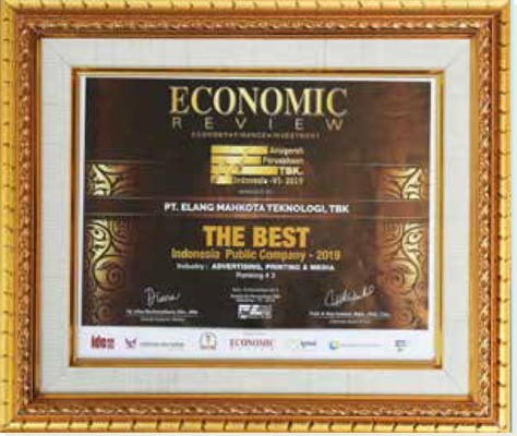 The 3rd Best Indonesia Public Company in the category of Advertising, Printing, and Media Industry Economic Review - 2019