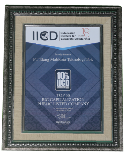 Top 50 award for Public Companies with Big Capitalization category in the 10th IICD's Corporate Governance Conference and Award Indonesian Institute Corporate Directorship (IICD) - 2018